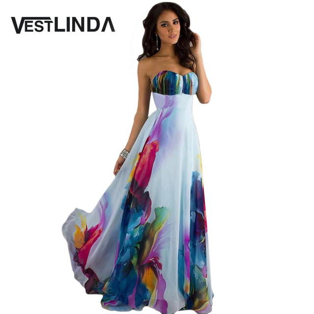 VESTLINDA Sweet Boho Dresses Strapless Backless Printed Zippered Tunic A-Line Beach Long Maxi Dress Women Summer Party Dresses