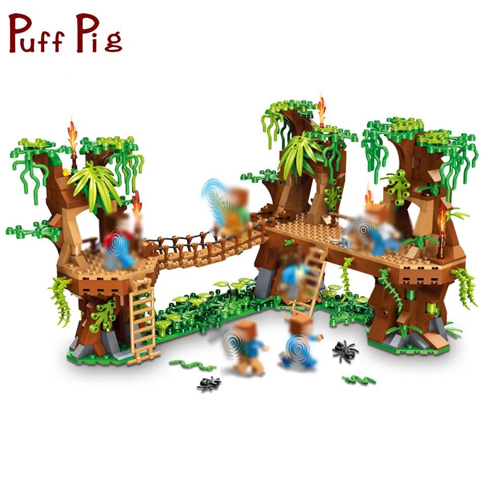Mi mundo bosque casa Steve cifras bloques de construcción ladrillos Set Compatible Legoed Minecrafted de juguetes educativos para niños