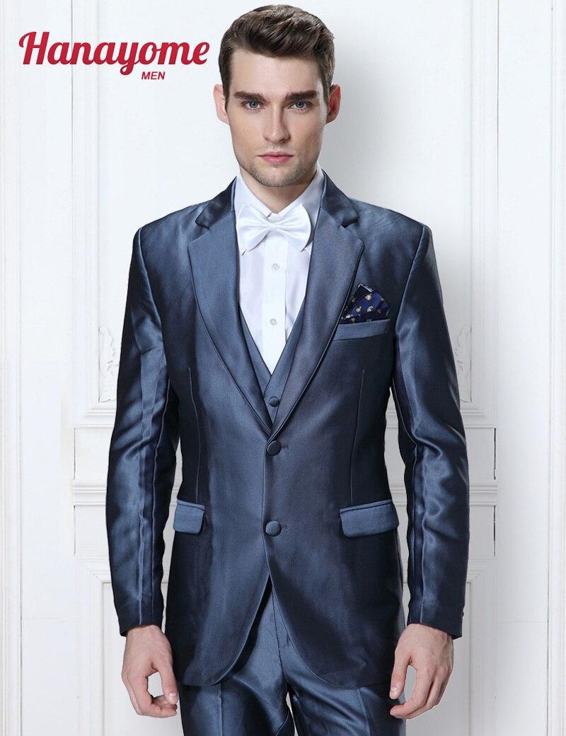Men Tuxedo With Sequins Korean Men Floral Suits Shiny Tuxedo Men's New Arrival 3 Piece Blazer Tuxedo Vest & Trousers D311
