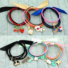 1Pack=3Pcs Charming Bow Elastic Rubber Bands Girl Cute Candy Color Headwear Ribbon Women Hair Accessories Cat Star Pattern