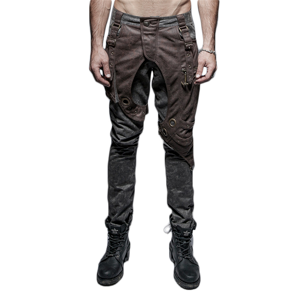 Steampunk Mens Washed Old Trousers Gothic Hi-Pop Thick Men Pocket Casual Pants Double Matching Pants