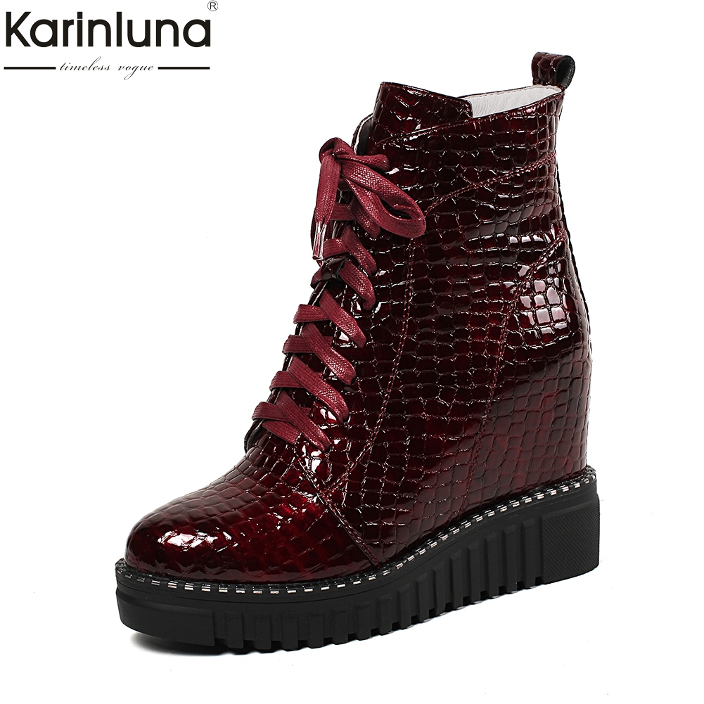 KARINLUNA 2018 Genuine Leather Fashion Zip Up Ankle Boots Female Shoes Woman High Heels Autumn Winter Boots Woman ShoesKARINLUNA 2018 Genuine Leather Fashion Zip Up Ankle Boots Female Shoes Woman High Heels Autumn Winter Boots Woman Shoes
