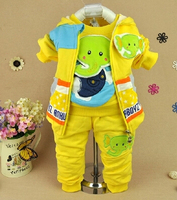 New 2014 Baby Boy High Quality Cartoon Elephant Vest Shirt Pant Clothing Sets 3pcs Kids Clothes
