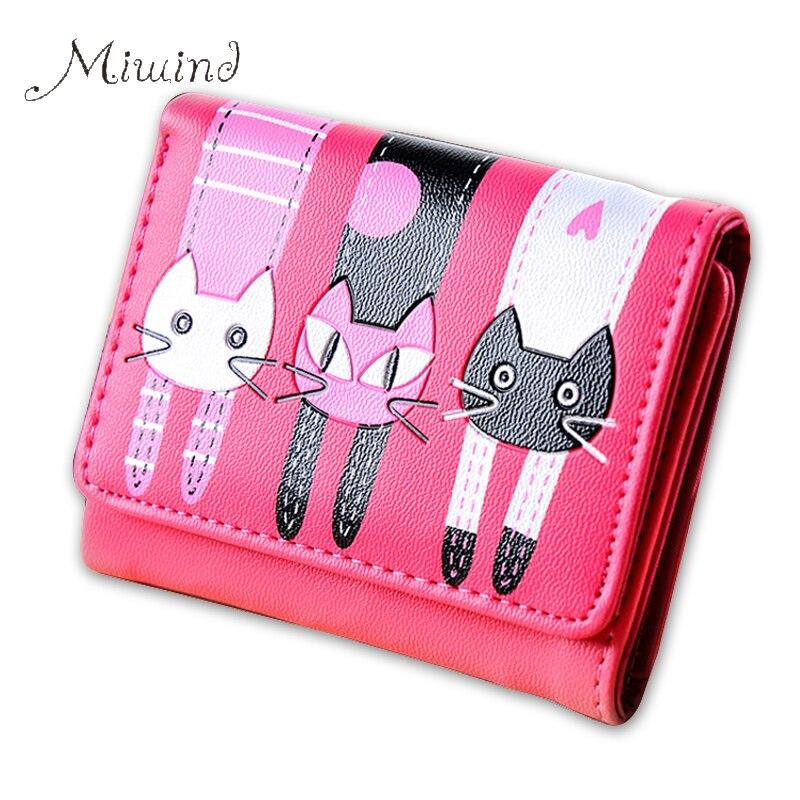 2016 корейский мило дизайнер cat женщины slim mini бумажник девушка малый кошелек женский тонкий сцепления кредитная карта держатель доллар цена cuzdan