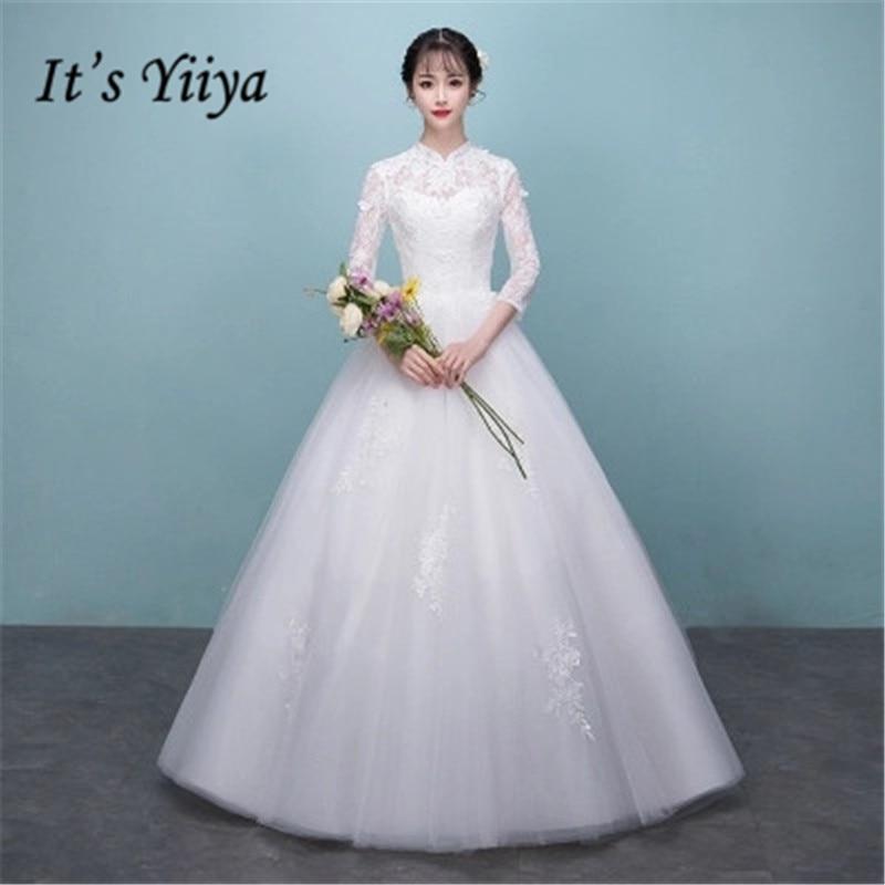 It s YiiYa Long Sleeve Floor-length Wedding Dresses Elegant Backless Brides  Gowns Lace Up Vestidos efb75dec3e48