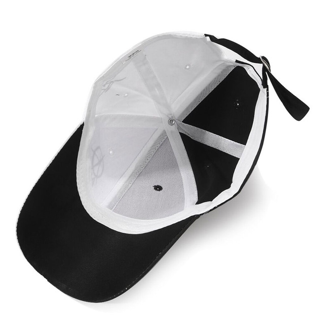 Black / White Cotton Baseball Cap 5