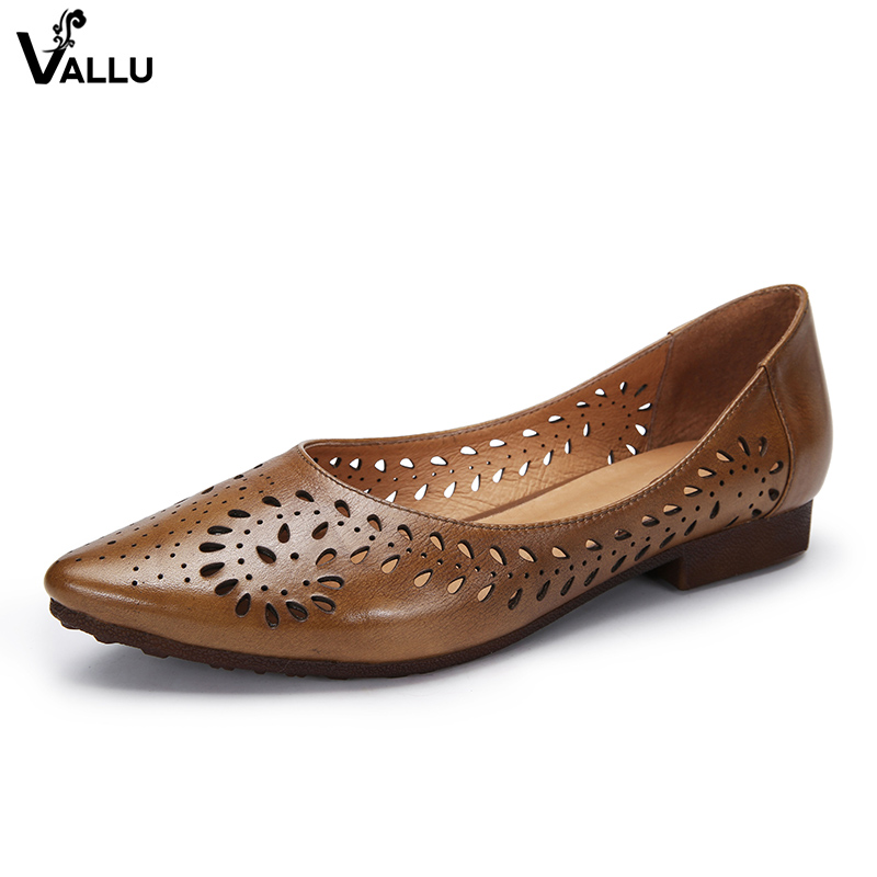 Pointed Toe Shoes Woman 2018 Handmade Natural Leather Flat Shoes Fretwork Soft Moccasins Female Casual Flats 2018 new retro women flats handmade shoes genuine leather round toe ladies shoes soft bottom casual shoes woman moccasins