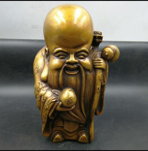 Antique chine en laiton fait à la main vieil homme longévité gourde dragon bâton statue