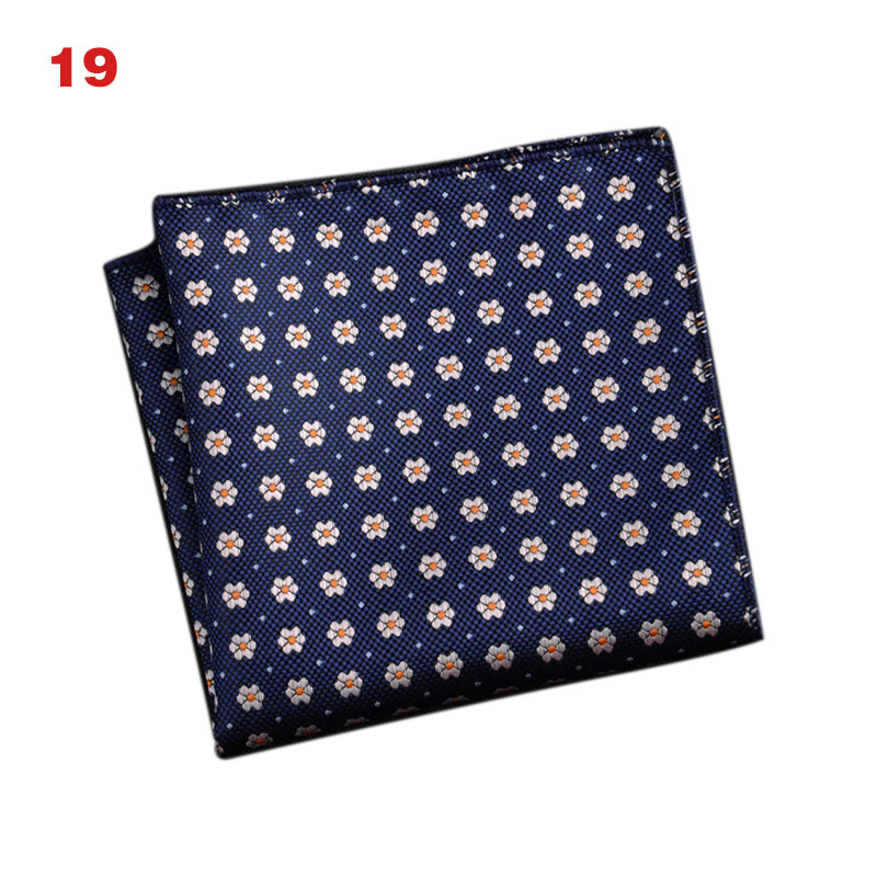 Men's Handkerchief  Striped Floral Printed Hankies Polyester Business Pocket Square Chest Hanky SSA-19ING