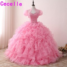cecelle 2019 Pink Ball Gown Princess Long Prom Dresses With