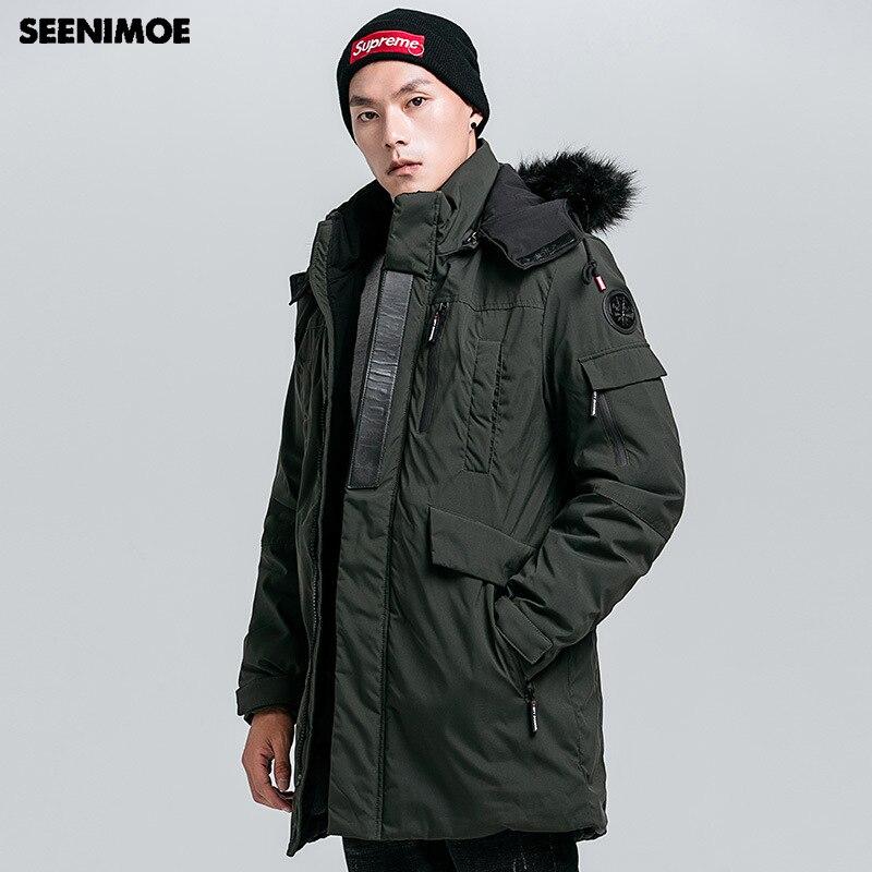 4830b150dc9 Seenimoe 2019 новый зимний хлопок пальто Для мужчин с капюшоном  ветрозащитная зимняя куртка брендовые зимние парки