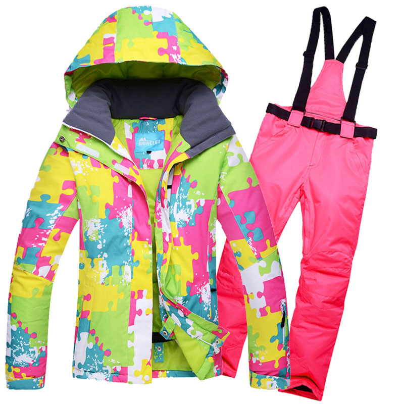 2019 Ski Suit Women Set Windproof Waterproof Warmth Clothes Jacket Ski Pants Snow Clothes Winter Skiing And Snowboarding Suits in Snowboarding Sets from Sports Entertainment
