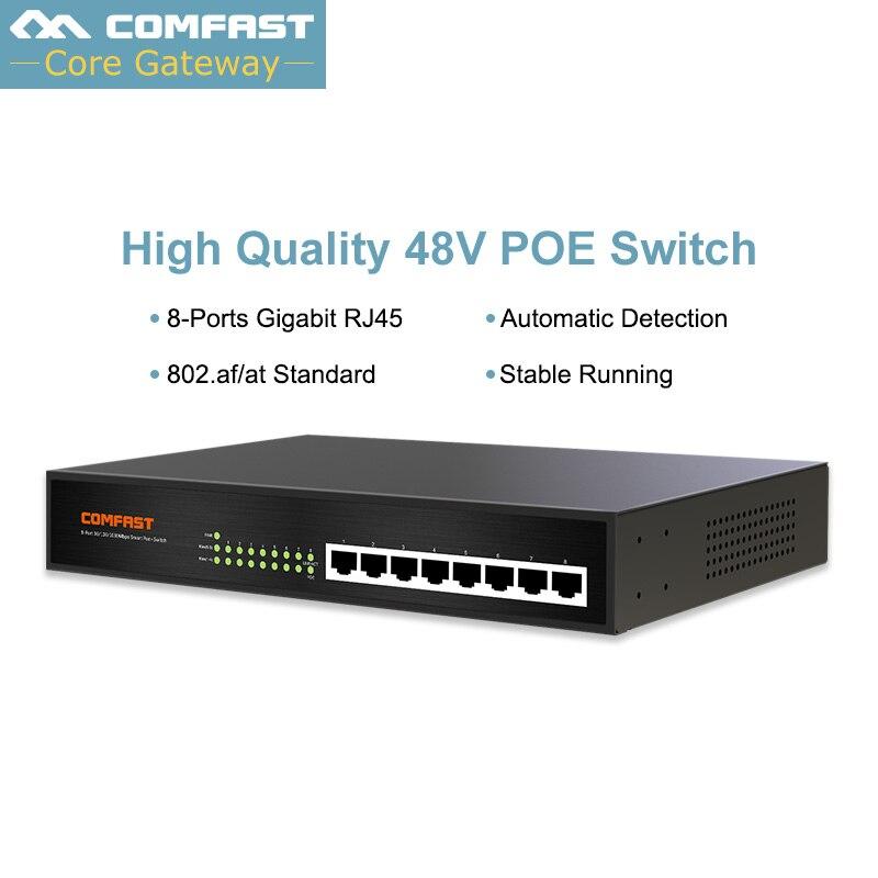 Comfast 10/100/1000 Мбит/с 8 коммутатор PoE портов выход мощность 53 в DC 60 Вт 2 к MAC добавить стол для IP телефон/Мониторы системы/беспроводной CPE