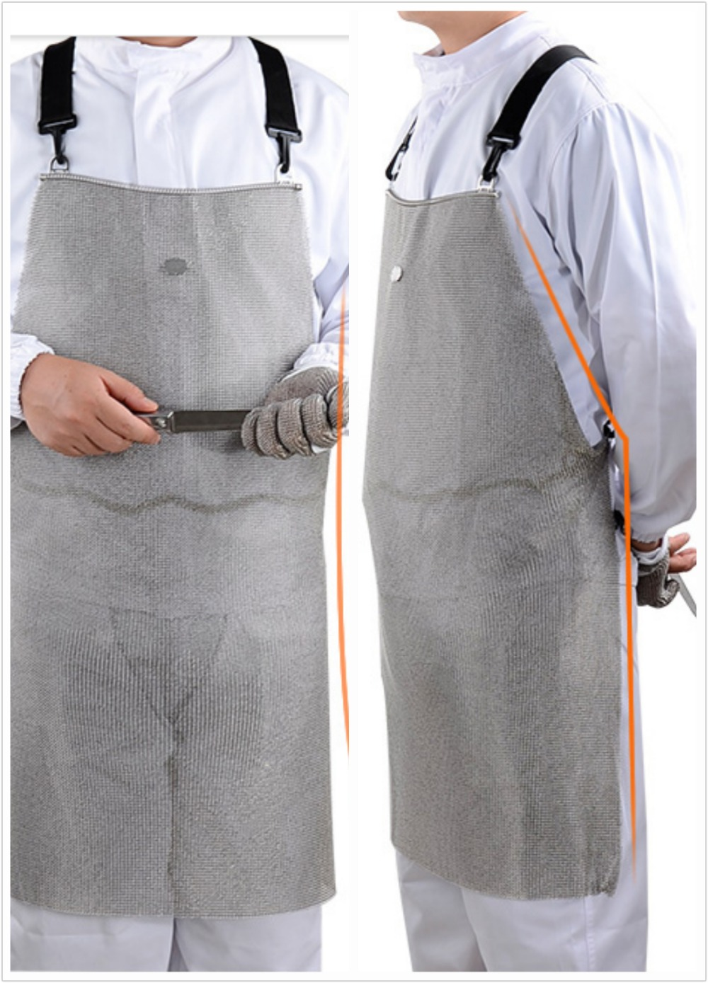 316L cut resistant knife proof protect stomach stainless steel chain mail butcher apron butcher