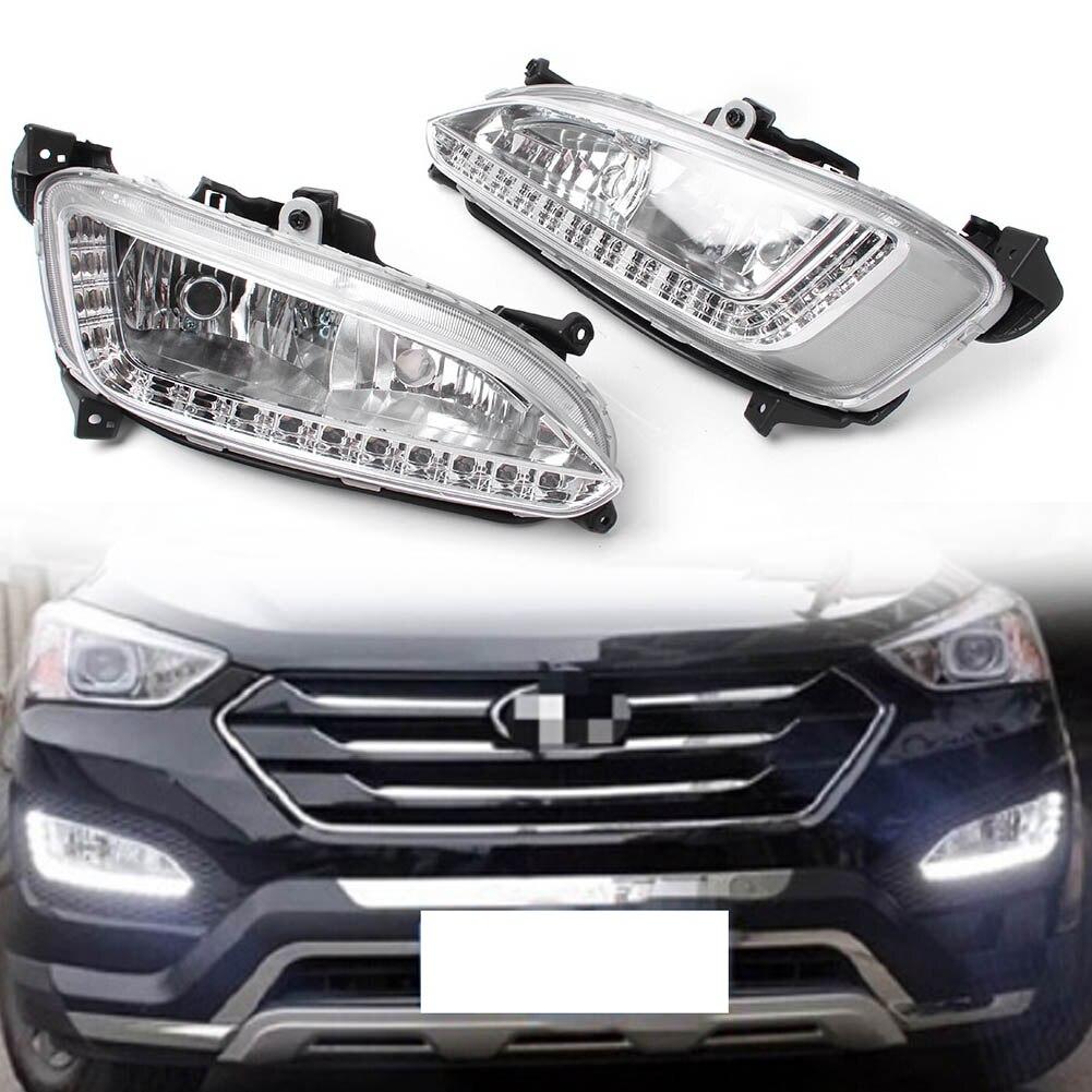 цена на For Hyundai Santa Fe LED DRL Daytime Running Light Fog Driving Lamp 2013 2014 1Pair