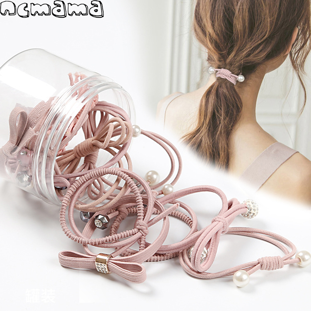 12Pcs/Set Women Solid Elastic Hair Bands With Pearl Rubber Suits Stretch Hair Ropes For Girls Ponytail Holder Hair Accessories
