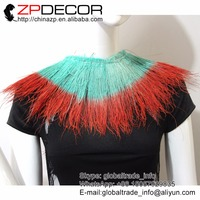 ZPDECOR Wholesale 1yard/bag 15 20cm(6 8 inch) Light Blue and Red Peacock Feather Strung for Carnival Costume Decoration