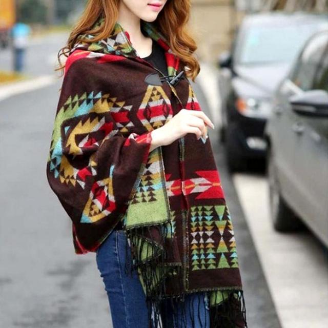 Мода 2016 года бахромой в этническом геометрический Для женщин \ batwing накидка пончо трикотажный топ кардиган свитер пальто хип шарф шаль