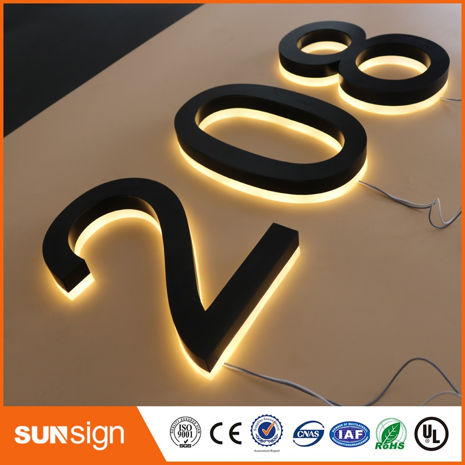 H25cm One Letter Customized Waterpoof Backlit Led Letter Stainless Steel Channel House Number Warm Light Led Door Numbers