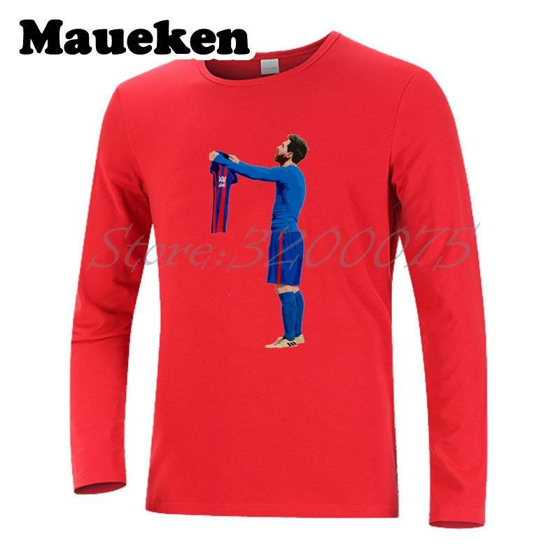 8bde10ff734 Men Autumn Winter Lionel Messi #10 worship 500 Goals T Shirt Men T shirts  for messi fans gift Long Sleeve Tee W1101106-in T-Shirts from Men's  Clothing on ...