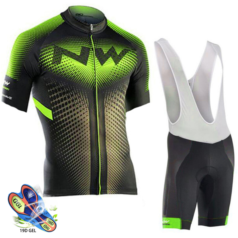Cycling Set Green and black jersey with black and white pants