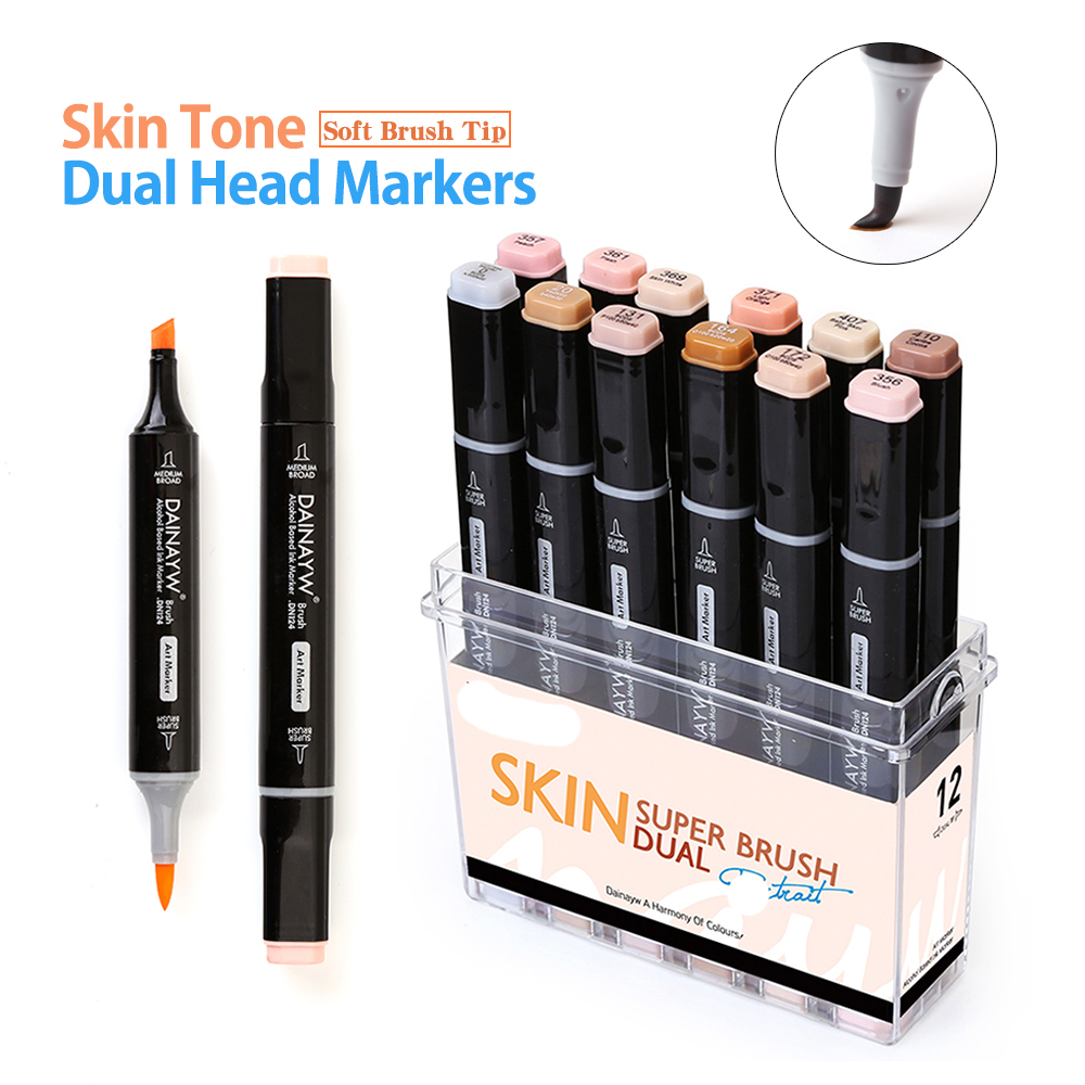 12 color Professional Soft Brush Marker Drawing Set Wood Skin Tints School Supplies Watercolor Colored Art Marker Set