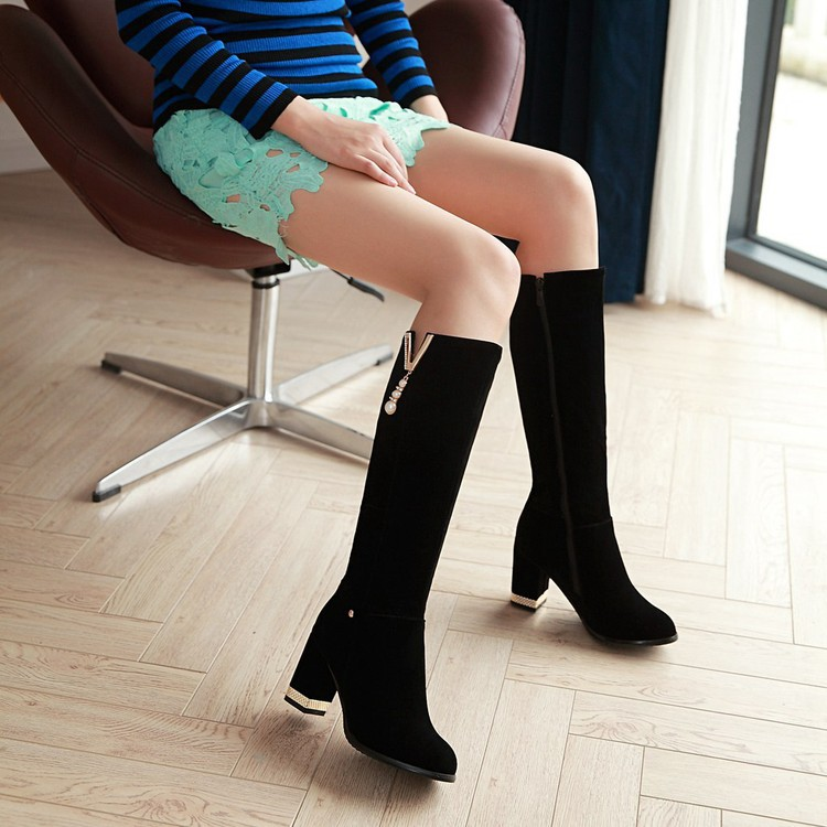 New Beaded Womens Large Size 40 High-heeled Suede Black Knee High Boots Autumn And Winter 7cm7