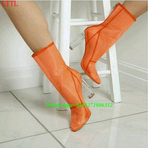 Zapatos Pic Malla Pic Sexy Transparente Las Botas Moda De Tacones Diseñador Botines Plexiglás Mujeres As 11 Tacón Alto Cm Verano Zip Claro Tobillo Arranque as pBpUSx7n