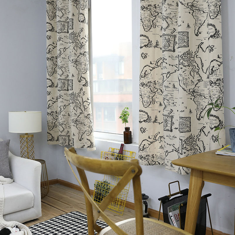 Image 2 - Countryside Modern Map Print Blackout Curtain Cotton Thick for Livingroom Bedroom Home Decoration Solid Window Treatment Drape-in Curtains from Home & Garden