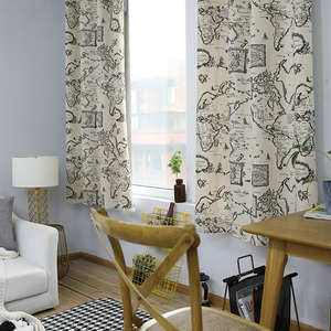 Image 2 - Countryside Modern Map Print Blackout Curtain Cotton Thick for Livingroom Bedroom Home Decoration Solid Window Treatment Drape