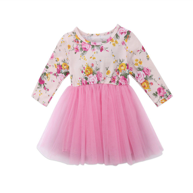 все цены на Sweety Newborn Kids Baby Girls Long Sleeve Flower Tulle Tutu Dresses Fall Winter Pink Bowknot Princess Party Dress Clothes