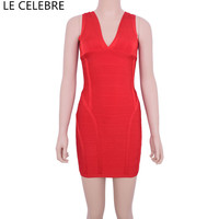 LE CELEBRE Satin Nặng Bandage Dress 2017 V Cổ Pencil Dresses Red Tím Đen Nữ Đảng Dresses Sexy Dress Knee chiều dài