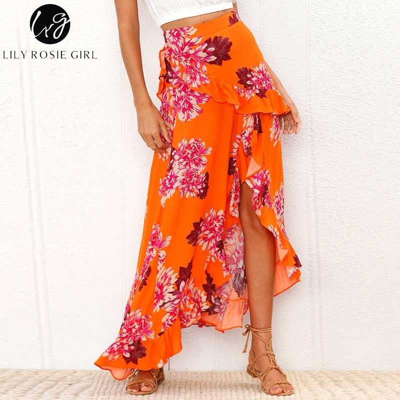 05d5bbd8db Lily Rosie Girl Boho Floral Beach Long Skirt Asymmetrical Ruffle Maxi Skirt  Summer Sexy Chic Vestido Women 2018