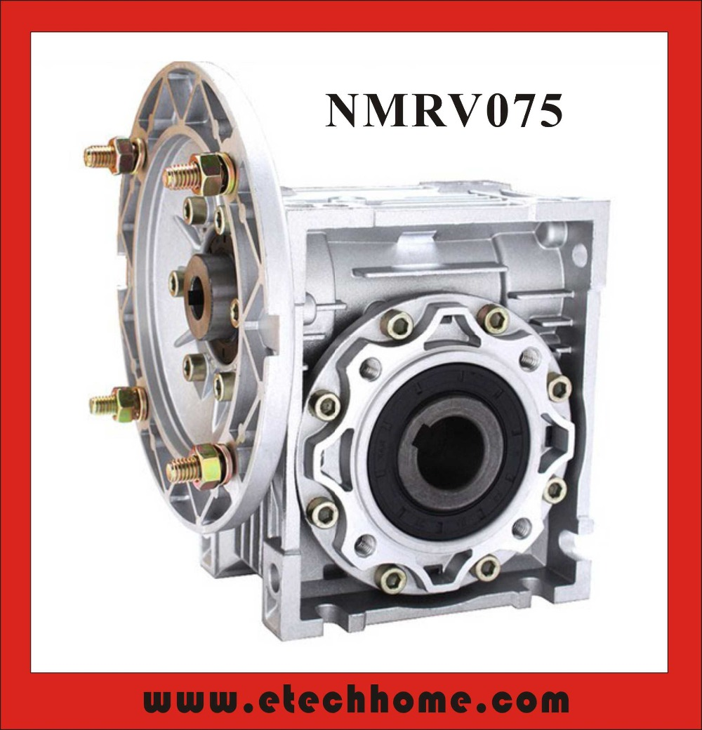 NMRV075 Worm Reducer 19mm 24mm 28mm input shaft 7.5:1 - 100 :1 Gear Ratio Worm Gearbox 90 Degree Speed ReducerNMRV075 Worm Reducer 19mm 24mm 28mm input shaft 7.5:1 - 100 :1 Gear Ratio Worm Gearbox 90 Degree Speed Reducer