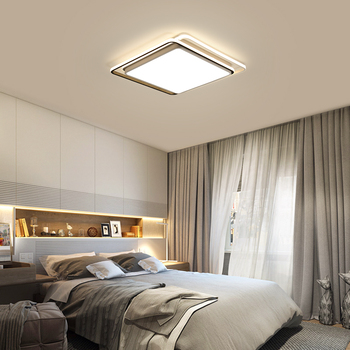 Светодиодный современный потолочный светильник, креативные металлические Диммируемые украшения для дома, дистанционное управление, квадр...