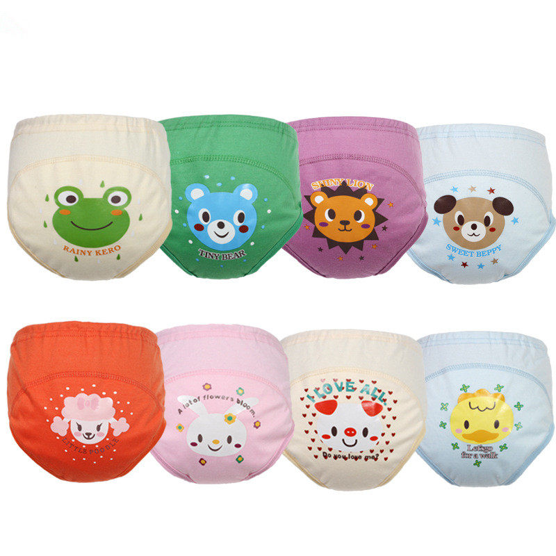 Hot Selling Tvättbar Baby Training Nappies Pee Lärande Byxor för Boy Girl Underwears Briefs Infant Cloth Diapers