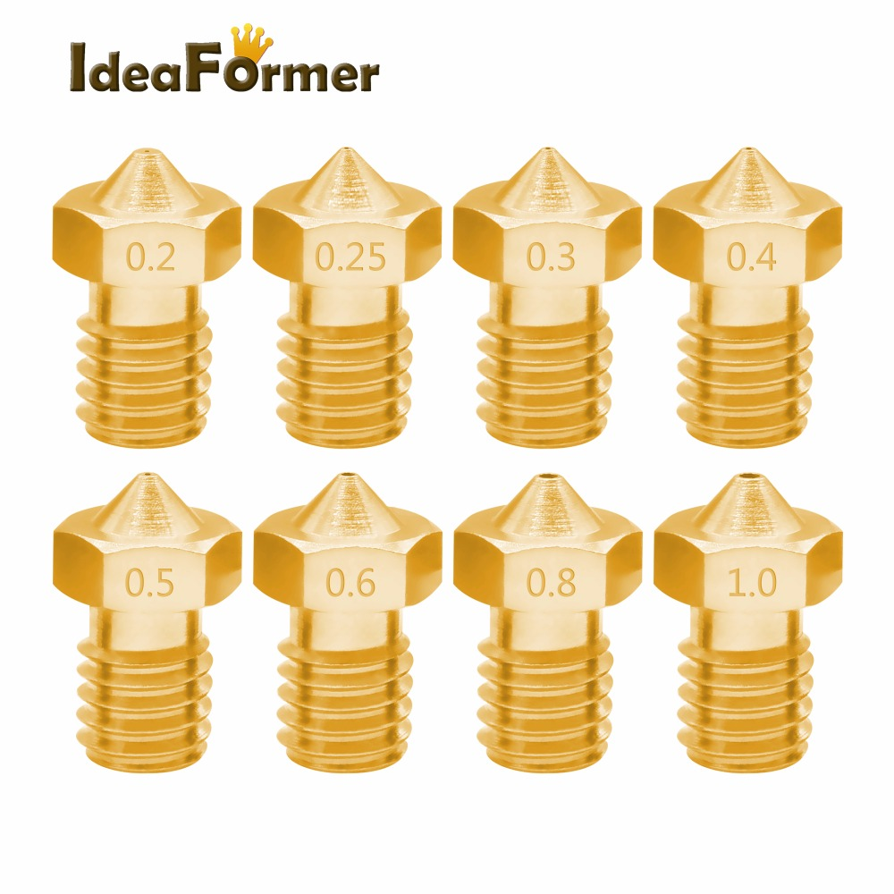 IdeaFormer 5pcs 3D Printer Accessories V5 V6 M6 threaded Nozzle 0.2 0.25 0.3 0.4 0.5