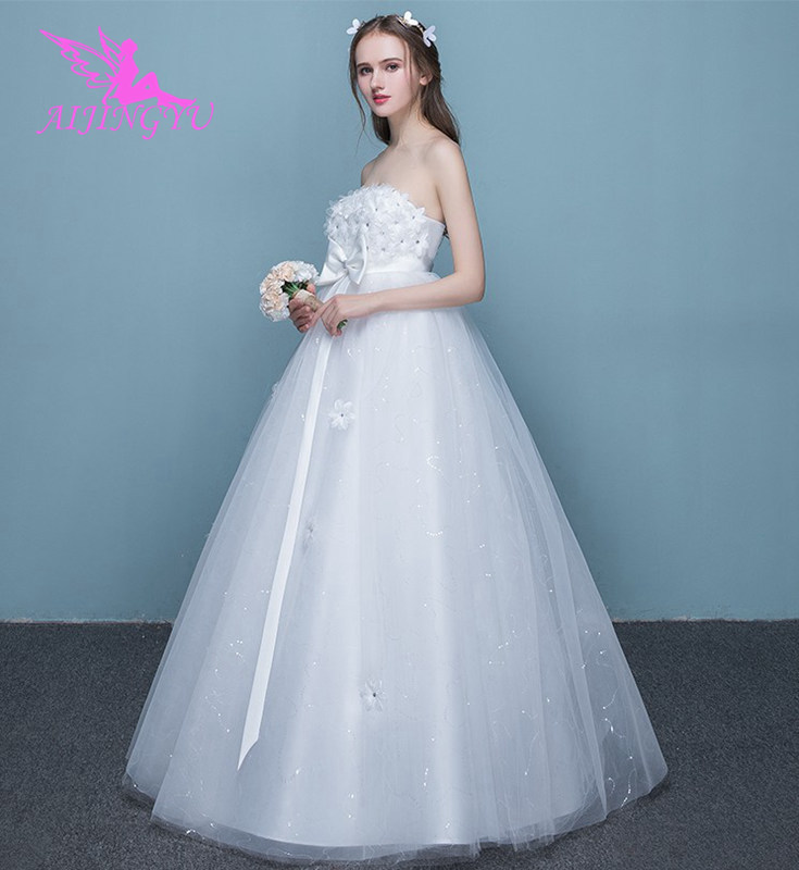 AIJINGYU 2018 floor length free shipping new hot selling cheap ball gown lace up back formal bride dresses wedding dress FU288