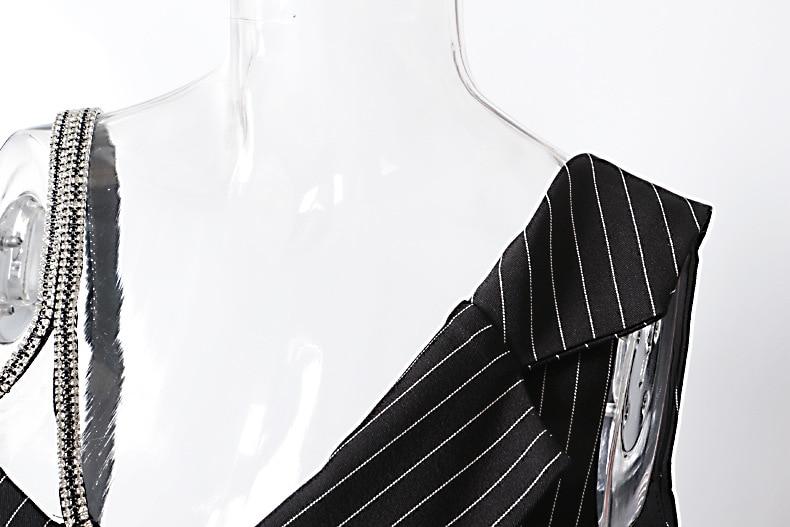 Chaîne Slim Irrégulière Manteau Sans Mince Manteaux Tops Manches Rayures Veste Getsring Femmes 2019 Diamant Black Femelle P0RqRT