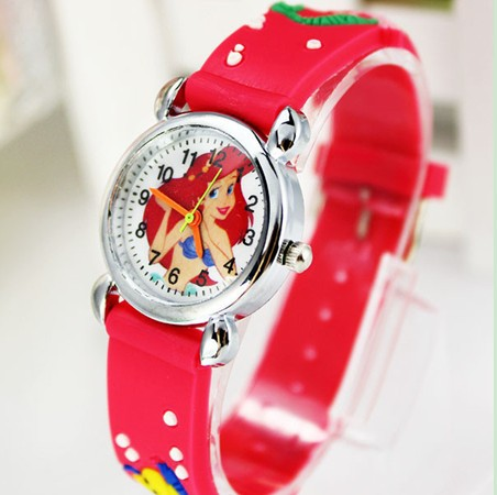 Free Shipping NEW 3D Cartoon Kids Watch Cute The Little Mermaid 1pcs/lot Best Gift Wristwatch Jelly Watch Watch