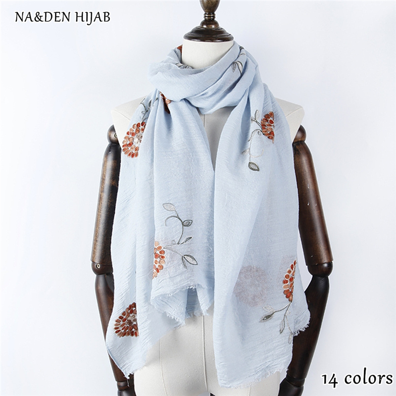 14color NEW embroider flower hijab scarf cotton soft shawl fashion luxury women scarves shawls brand soft muffler islamic hijabs