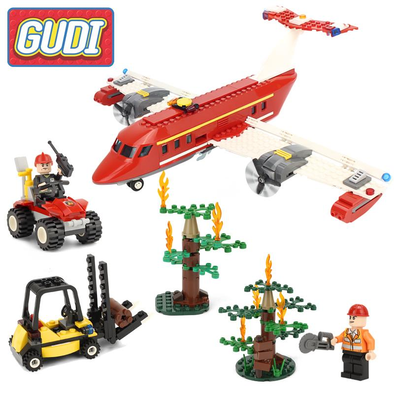 GUDI Fire Rescue Airplane Action Model Building Blocks Bricks Sets 2017 Children Safe Educational Toys gudi earth border blocks children