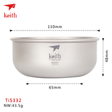 2016 Manufacture  New Mode Keith Titanium Bowl Ti5332 Outdoor Tableware Camping Plate Travelling ultra Light Folded Series