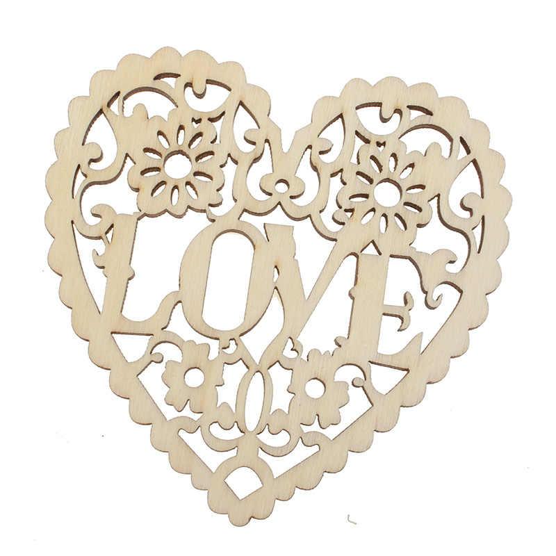 """10 قطعة القلب مع """"الحب"""" حرف خشبية الزينة MDF خشبية انقطاع Flatback سكرابوكينغ ل Cardmaking الزفاف الديكور"""
