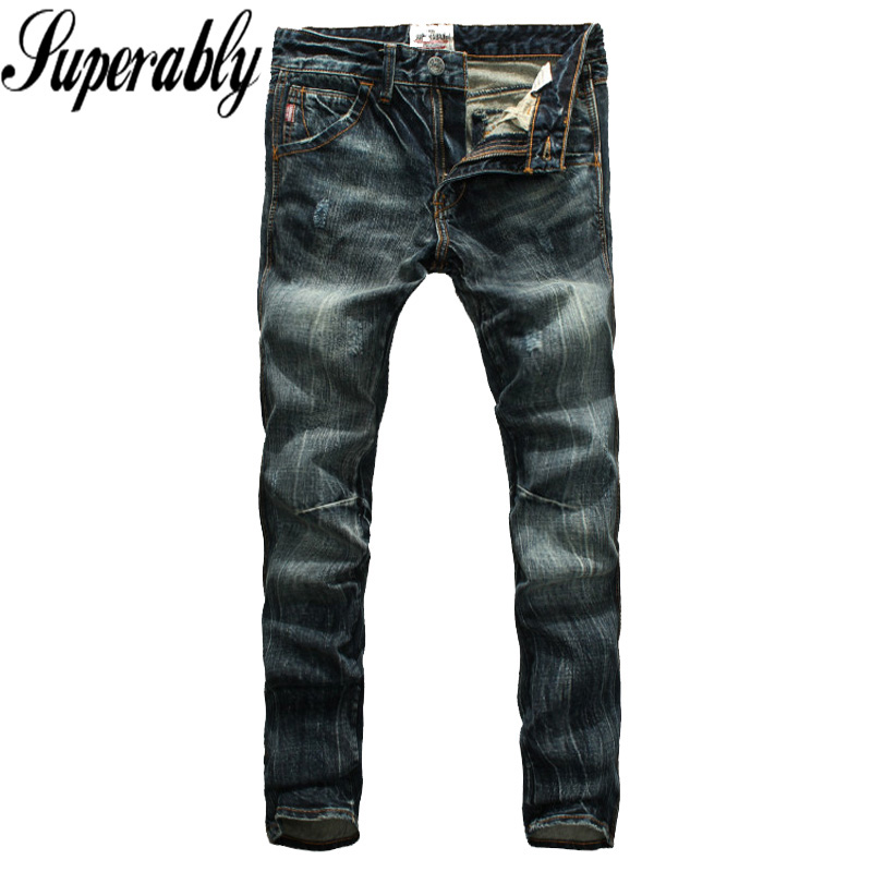 Superably Brand Men Jeans Retro Designer Slim Fit Denim Biker Jeans Mens Pants High Quality Scratched Stripe Jeans Male Trousers