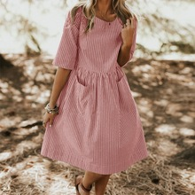 Women Summer Casual Loose Work Striped Dress Elegant O Neck Half Sleeve Pockets Loose Party Dress Vestido Sundress Oversized 3XL