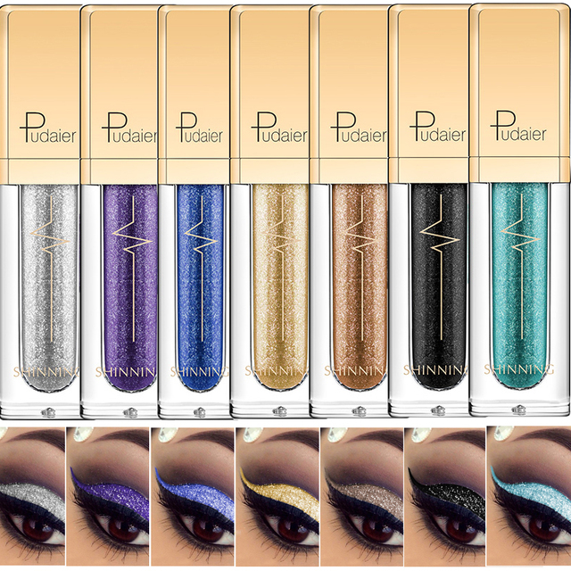 Maquillaje brillo sombra de ojos y delineador combinación líquido delineador de ojos pigmento metálico diamante perla resaltar sombra de ojos