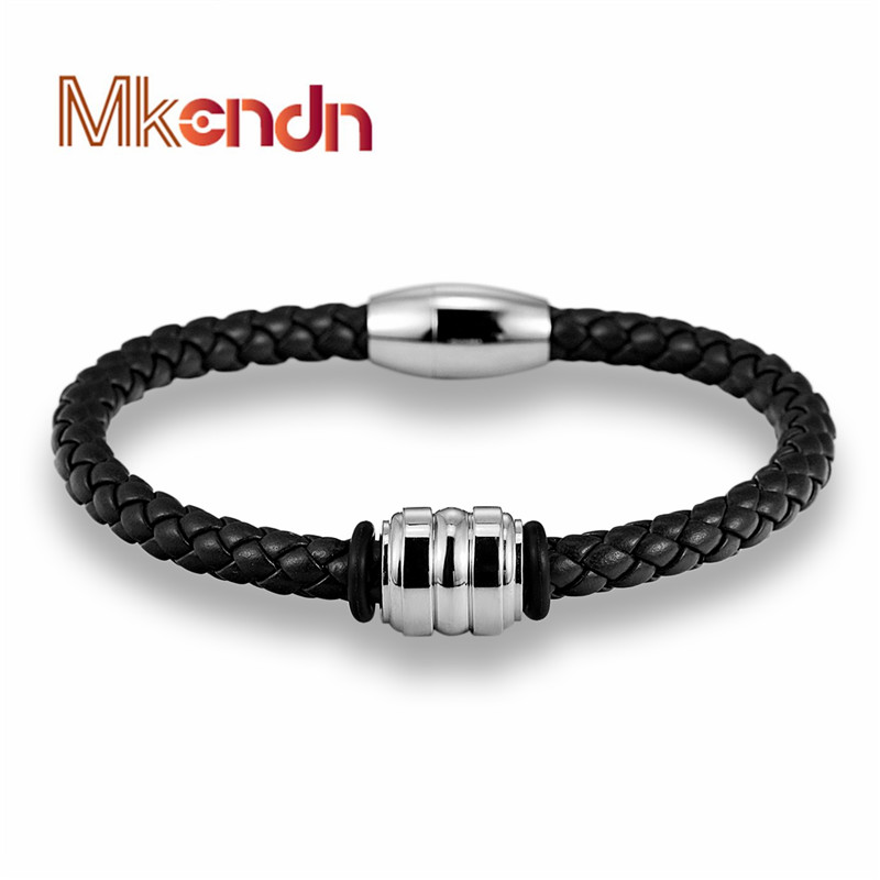 MKENDN Braid Genuine Leather Bracelet Men Women Bangle Stainless Steel Magnet Buckle Hope Fashion Jewelry