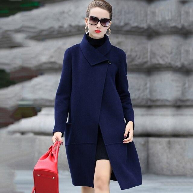 2016 autumn winter women elegant cashmere coat fashion slim long