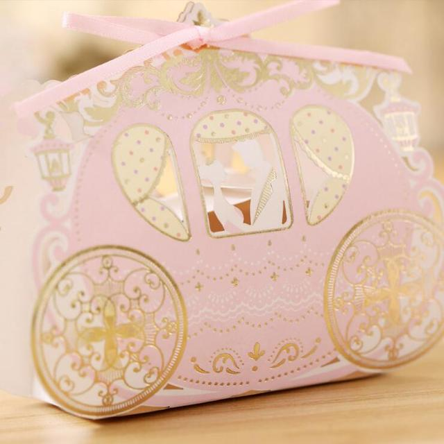 100pcs Carriage Candy Boxes Sweets Packaging Favors Baby Shower Gift